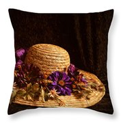 Straw Hat And Flowers Throw Pillow