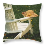 Straw Hat On Chair Throw Pillow