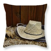 Straw Hat  On  Hay Throw Pillow