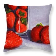 Strawberries And Glass Throw Pillow