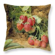 Strawberries And Peas Throw Pillow by John Sherrin