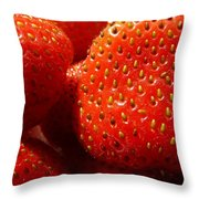 Strawberries Background Throw Pillow
