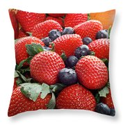 Strawberries Blueberries Mangoes - Fruit - Heart Health Throw Pillow