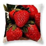 Strawberries Expressive Brushstrokes Throw Pillow