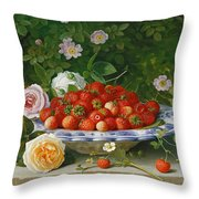 Strawberries In A Blue And White Buckelteller With Roses And Sweet Briar On A Ledge Throw Pillow by William Hammer
