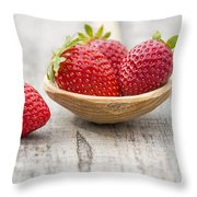 Strawberries In A Wooden Spoon Throw Pillow