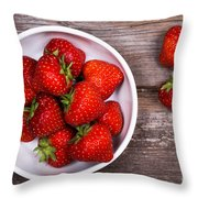 Strawberries Throw Pillow by Jane Rix