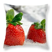 Strawberries On Ice  Throw Pillow