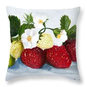 Strawberries With Blossoms Throw Pillow