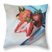 Strawberries With Knife Throw Pillow