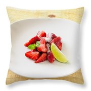 Strawberries With Lime And Mint Throw Pillow