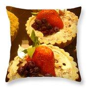 Strawberry Blueberry Tarts Throw Pillow