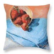 Strawberry Bowl Throw Pillow