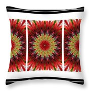Strawberry Explosion Triptych - Kaleidoscope Throw Pillow