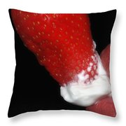 Strawberry Lips And Cream Throw Pillow by Joann Vitali