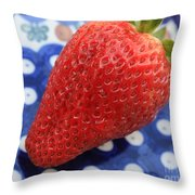 Strawberry On Blue Plate Throw Pillow