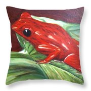 Strawberry Poison Dart Frog Throw Pillow