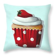 Strawberry Shortcake Cupcake Throw Pillow by Catherine Holman