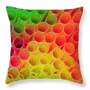 Straws In Color Throw Pillow