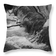 Stream Cascades Over Small Dam Throw Pillow