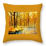 Stream In The Forest - Palette Knife Oil Painting On Canvas By Leonid Afremov Throw Pillow
