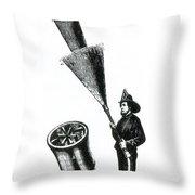 Stream Spreading Water Nozzle, 1865 Throw Pillow