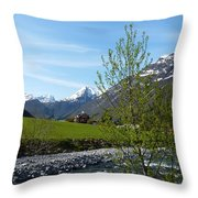 Stream To The Fjord Throw Pillow