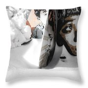 Street Art In The Snow Throw Pillow