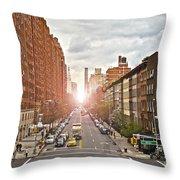 Street As Seen From The High Line Park Throw Pillow