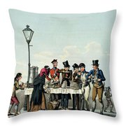 Street Breakfast Engraved By G.hunt Throw Pillow
