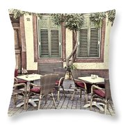 Street Cafe In Heidelberg Throw Pillow