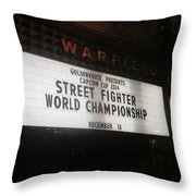 Street Fighter World Championship - Warfield Marquis Sign Throw Pillow