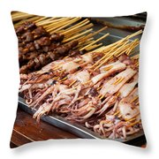 Street Food, China Throw Pillow