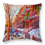 Street Hockey Game In Montreal Winter Scene With Winding Staircases Painting By Carole Spandau Throw Pillow
