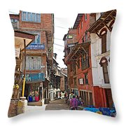 Street In Bhaktapur-city Of Devotees-nepal  Throw Pillow