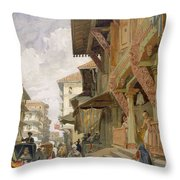 Street In Bombay, From India Ancient Throw Pillow