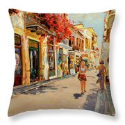 Street In Nafplio Greece Throw Pillow