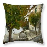 street in old Albaycin in Granada Throw Pillow