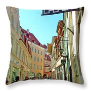 Street In Old Town Tallinn-estonia Throw Pillow