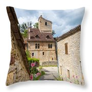 Street In Saint-cirq-lapopie Throw Pillow