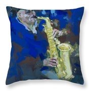 Street Jazzman Near Park  Throw Pillow