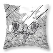 Street Lamps And Straight Lines Throw Pillow