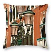 Street Lamps Of Venice Throw Pillow