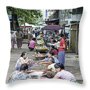 Street Market In Yangon Myanmar Throw Pillow