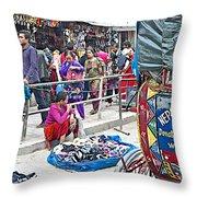 Street Market View From A Rickshaw In Kathmandu Durbar Square-nepal Throw Pillow
