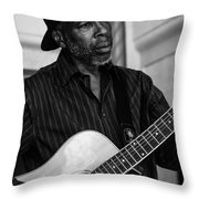 Street Musician Black And White Throw Pillow