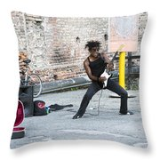 Street Musician Milan Italy Throw Pillow