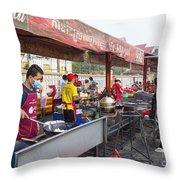 Street Restaurant In Phnom Penh Cambodia Throw Pillow