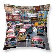 Street Scene In Hong Kong Throw Pillow by Matteo Colombo