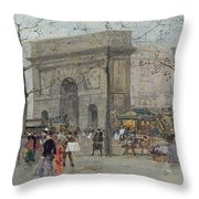 Street Scene In Paris Throw Pillow by Eugene Galien-Laloue
